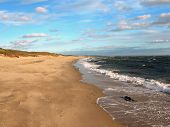 Empty Cape Cod Beach And Blue Sky