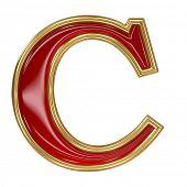Ruby red with golden outline alphabet letter symbol - C poster