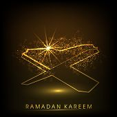 Shiny illustration of islamic religious book Quran Shareef with Stylish text Ramadan Kareem on abstract brown background. poster