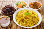 Arab rice, Ramadan food in middle east usually served with tandoor lamb. Middle eastern food. poster