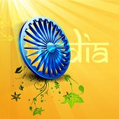 Beautiful Indian independence day or republic day background with 3D ashoka wheel. poster