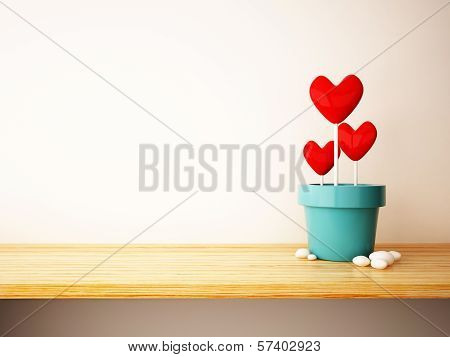 Red Heart In Flower Pot Concept