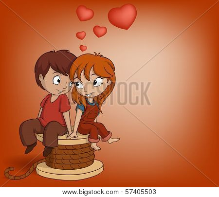 Boy And Girl Are Sitting With Heart Shape