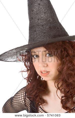 Bored Read Head Teen Girl In Halloween Hat