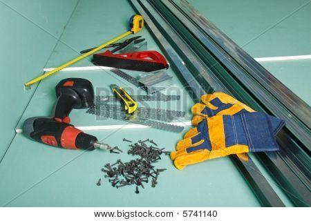 Plasterboard and various building tools. Apartment repair. poster