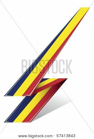 romania arrow to flag with red blue and yellow color