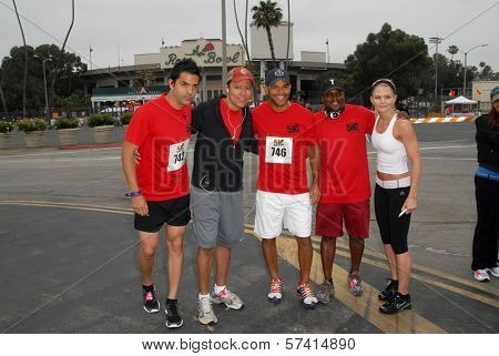 Keven Ramirez, Yancy Arias, Amaury Nolasco, Shay Roundtree and Jennifer Morrison at the Padres Contra El Cancer Annual Stand for Hope 5K Run Walk, Rose Bowl, Pasadena, CA. 06-26-10