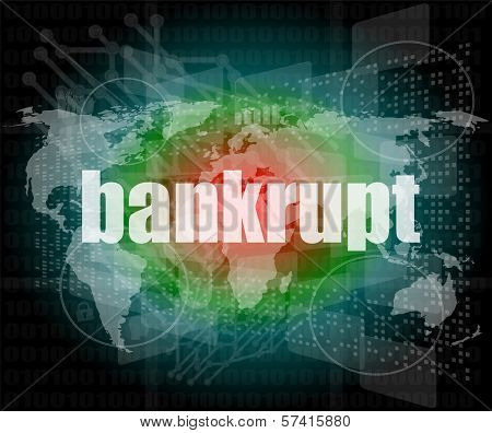 Bankrupt Word On Touch Screen, Modern Virtual Technology Background