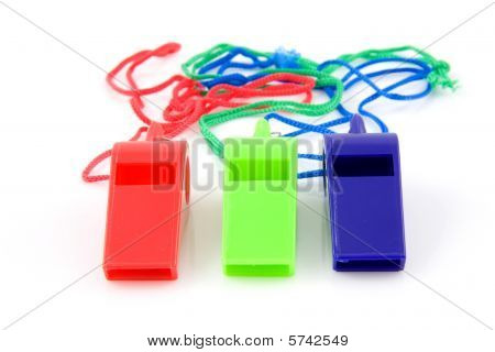 Three Colored Plastic Whistles