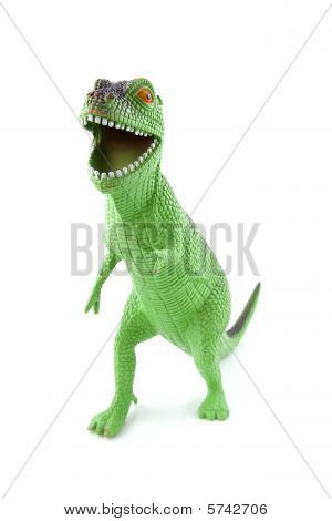 green dinosaur play toy isolated on white background poster