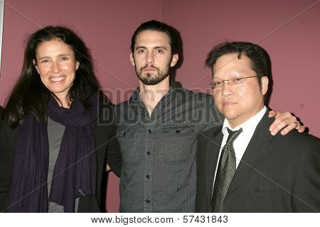 Mimi Rogers, Milo Ventimiglia and Gregory Hatanaka at the