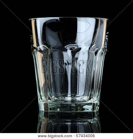 Water Or Scotch Glass On Black Background