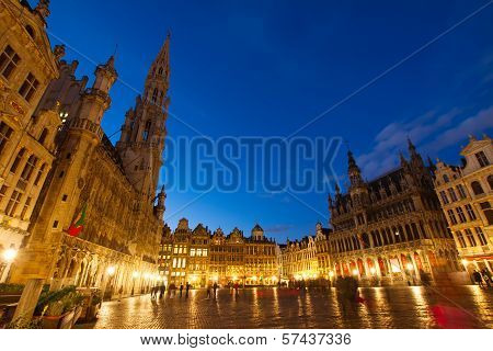 View of illuminated Grand Place and town square, Brusseles, Belgium poster