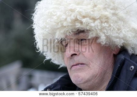 Man In White Caucasian Hat