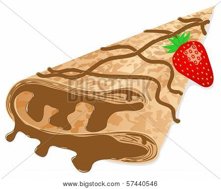 Crepe (pancake) With Chocolate And Strawberry