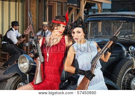 Attractive Female Gangsters With Guns