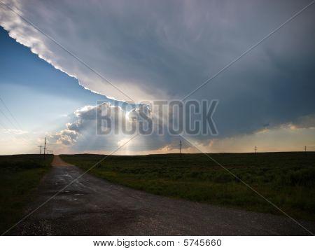 Sun rays through a thunderstorm