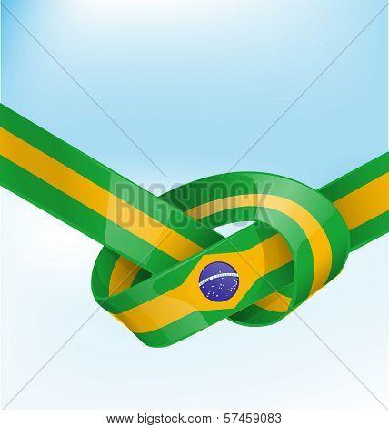 brazil ribbon flag on blue sky  background poster