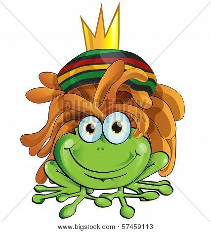 Rasta Frog Cartoon Isolate On White