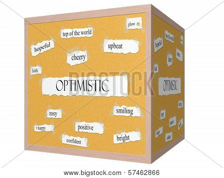 Optimistic 3D Cube Corkboard Word Concept