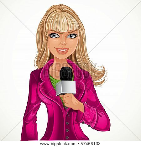Reporter Blond Girl With Microphone
