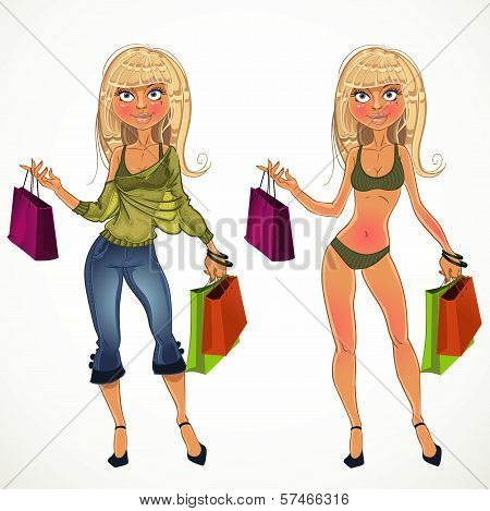Pretty Nude Blond Shopping Glamor Girl And In Clothe