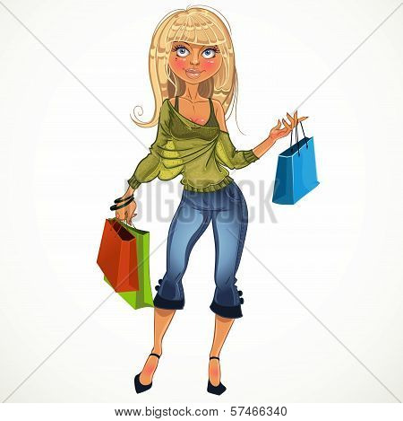 Pretty Blond Shopping Glamur Girl