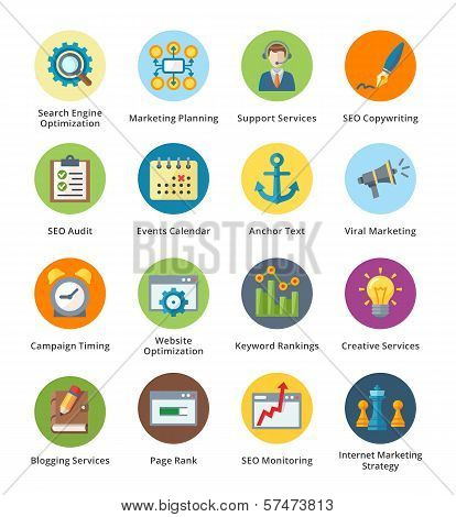 SEO & Internet Marketing Flat Icons Set 5 - Bubble Series