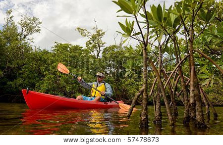 Red Kayak And Man