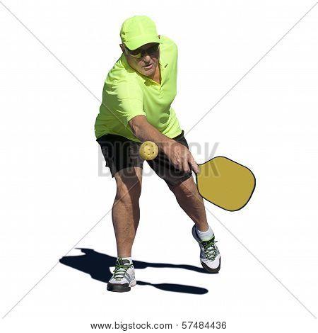 Pickleball Action - Senior Male Player Hitting Backhand