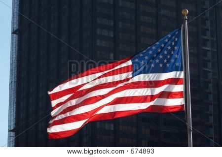 U.S. Flag In Downtown