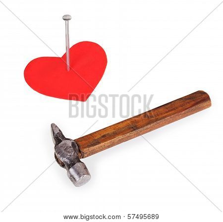 Hobnail In A Red Heart And A Hammer
