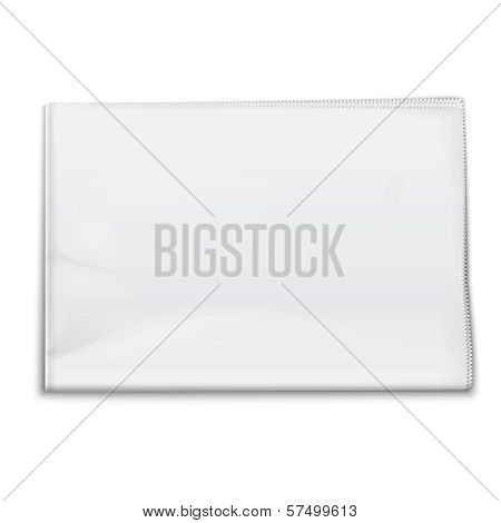 Blank newspaper template on white background.