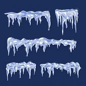 Blue Ice sheets with icicles Vector Illustration poster