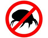 The illustration of a prohibition sign for house dust mites poster