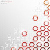 Grey and Red Hexagonal Honeycomb Abstract Background - Vector EPS10 poster