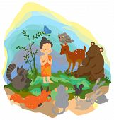 A little buddha is preaching truth to animals in the wood create by vector poster