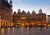 View of illuminated Grote Markt Town Square, Brusseles, Belgium poster