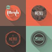 Labels for restaurant menu design. Vector illustration poster