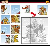 Cartoon Illustration of Education Jigsaw Puzzle Game for Preschool Children with Funny Cats and Dogs Group Animals poster