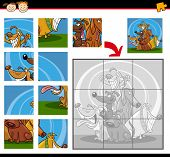 Cartoon Illustration of Education Jigsaw Puzzle Game for Preschool Children with Funny Dogs Group Animals poster