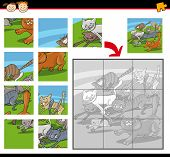 Cartoon Illustration of Education Jigsaw Puzzle Game for Preschool Children with Funny running Cats Group poster