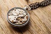 Pocket watch mechanism on wooden background texture poster
