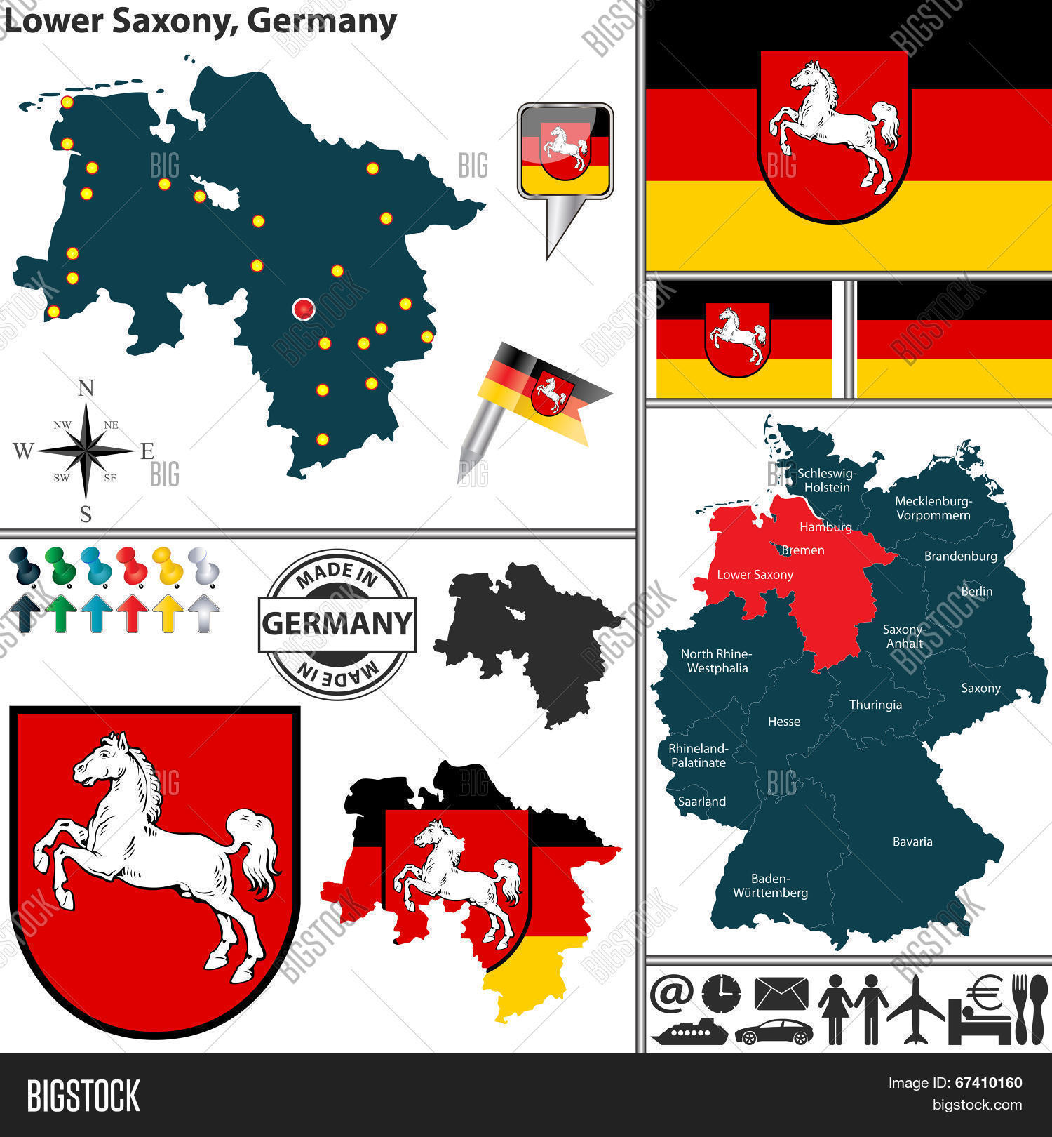 Lower Saxony Germany Map.Map Lower Saxony Vector Photo Free Trial Bigstock