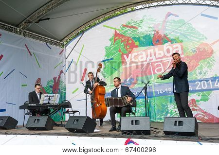 MOSCOW - JUNE 15: Orquesta Pasional group performs at XI International Jazz Festival