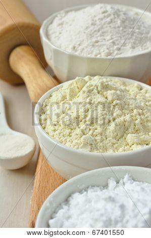 Three Bowls With Gluten Free Flour