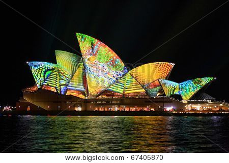 Opera House In Summer Colours Of Lime, Aqua, Yellow And Orange