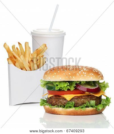 Hamburger with french fries and a cola drink