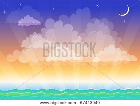 Night Landscape, Sea, Ocean, The Crescent