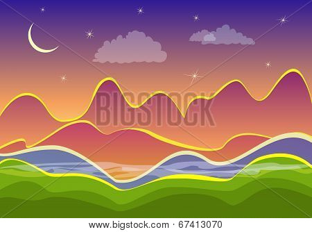 Night Landscape, Mountains And Crescent